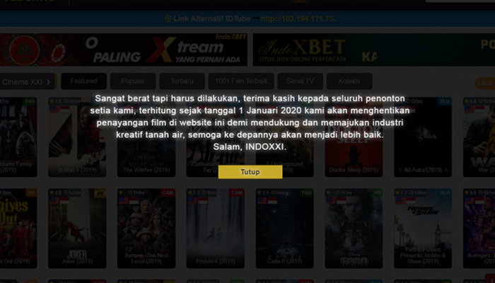 indoxxi tutup 2020 good bye situs streaming film ilegal